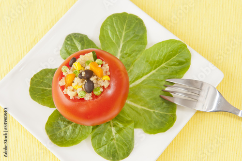 Quinoa Stuffed Tomato with Spinach Leaves