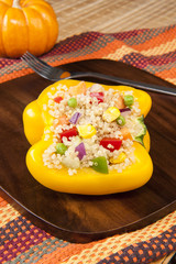 Thanksgiving Quinoa Stuffed Yellow Pepper