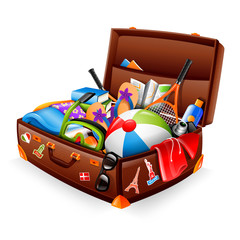 Illustration of a stuffed suitcase - ready for vacation