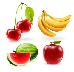 Vector fruit set - watermelon, apple, cherries and bananas