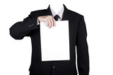 Template businessman show blank paper,included clipping path