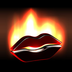 Burning passion on sensual black hot lips