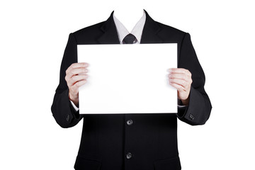 Template businessman show blank paper, included clipping path
