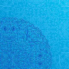 Light Blue Background with Half Mandala Ornament