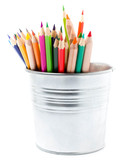 Color pencils in aluminum jar or mini bucket isolated on white b