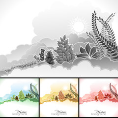 Sun, clouds and wild plants background