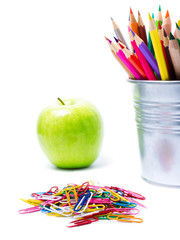 Back to school supplies with Color pencils in pencil  holders on