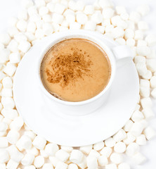 Closeup of cup of hot chocolate with small marshmallows resting