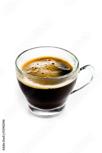 Coffee Espresso in  Glass cup with foam white background
