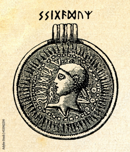Swedish bracteate with runic inscription
