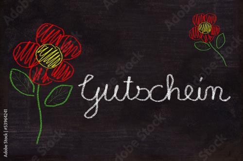 Schultafel mit Zeichnung, Blumen und Text, Gutschein