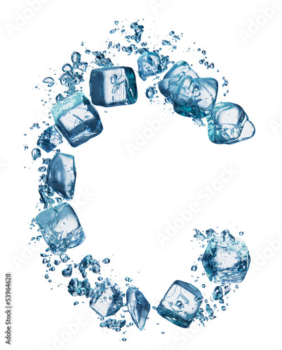 bubbles with ice alphabet isolated on white