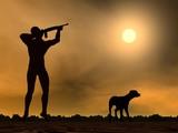 Hunting scene - 3D render poster