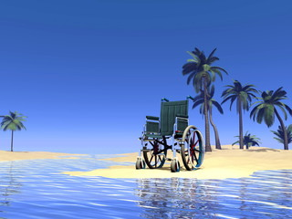 Wheelchair holidays - 3D render