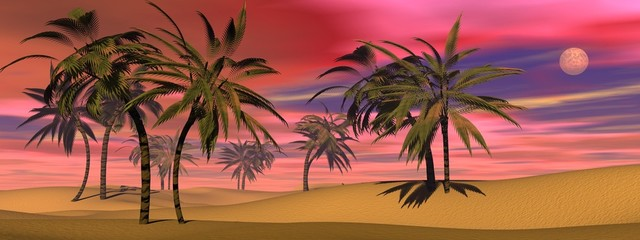 Tropical sunset - 3D render
