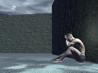 Sad man - 3D render