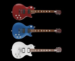 Three Electric Guitars On Black Background