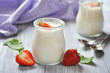 yogurt with ripe fresh strawberry