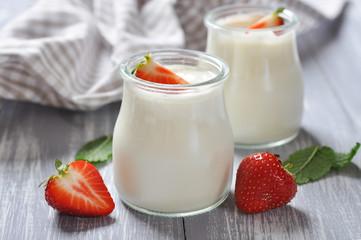 yogurt with ripe fresh strawberry