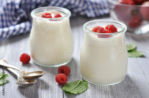 yogurt with ripe fresh raspberry