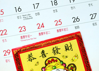 Chinese New Year and a red lucky-money envelope