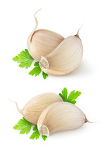 "Постер, картина, фотообои ""Isolated garlic. Two images of garlic segments with parsley leaf isolated on white background"""