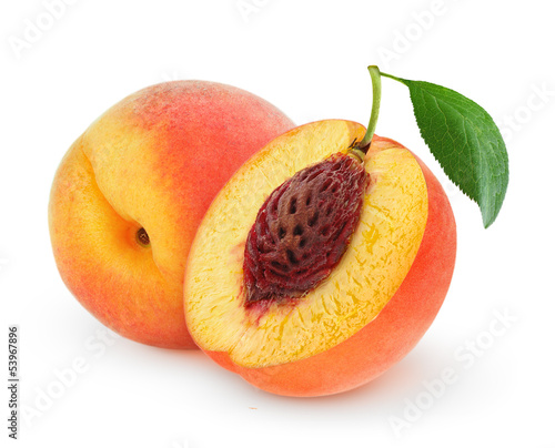 Fresh peaches isolated on white