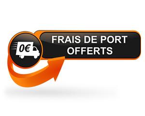 frais de port offerts sur bouton web design orange