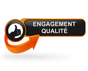 engagement qualité sur bouton web design orange