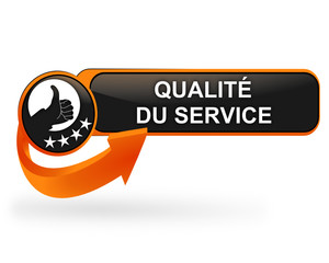 qualité du service sur bouton web design orange