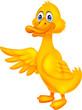 Cute duck cartoon waving