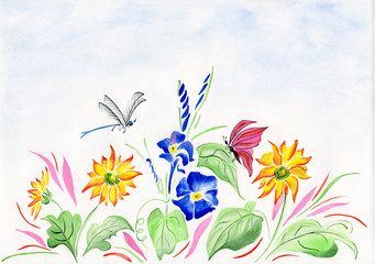 watercolor with flowers and dragonfly
