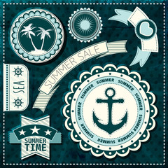 Набор морские ярлыки, иконки и элементы дизайна