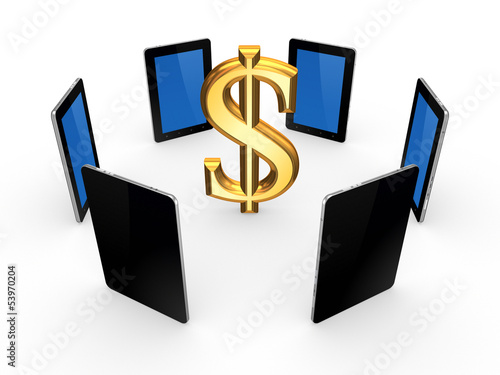 Tablet PCs around sign of dollar.