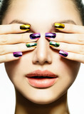 Fototapety Manicure and Make-up. Nail art. Beauty Woman With Colorful Nails