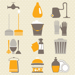 Vector set of  home cleaning elements on spotted background