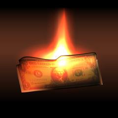 Burning in flames one dollar bill