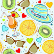 Abstract seamless vacation summer, sunglasses journey fruit