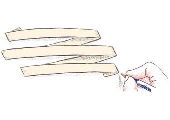 mano che scrive su nastrino