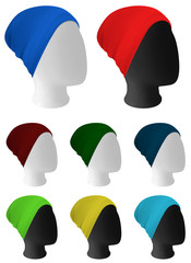 Warm knitted hat on mannequin head template