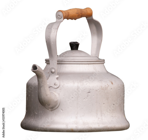 old kettle isolated on white