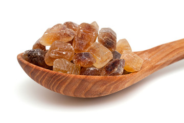 brown caramelized sugar on white background