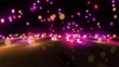 pink color tone light balls falling
