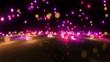 pink color tone light balls falling