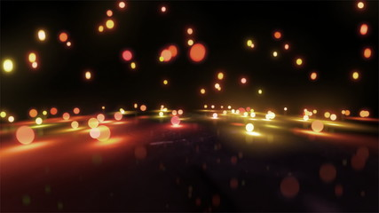 orange light balls falling