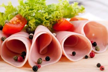 Rolls of ham