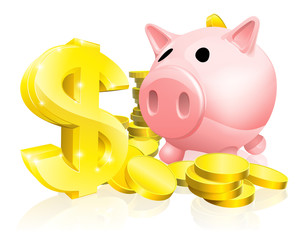 Dollar sign piggy bank