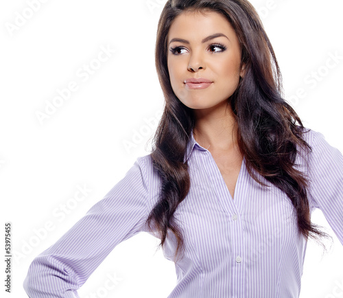 Young hispanic business woman. Isolated on white background