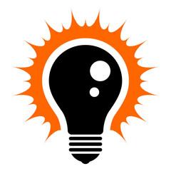 Idea! Simplified illustration of a glowing light bulb