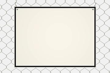 Leeres Schild hängt am Zaun - 3D